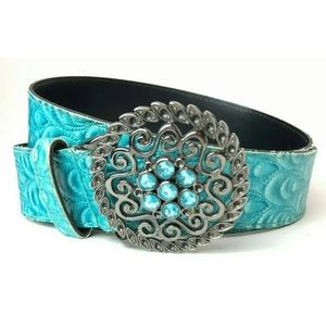 Turquoise Quilted Faux Leather Belt w Crystals S